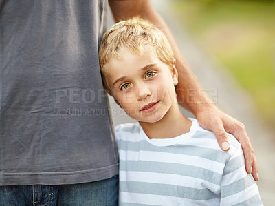 Buy stock photo A cute little boy with his father
