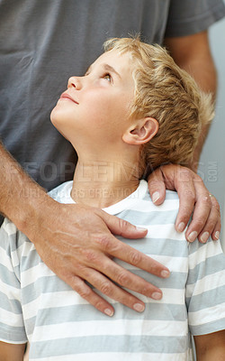 Buy stock photo A cute young boy looking up to his father - close-up
