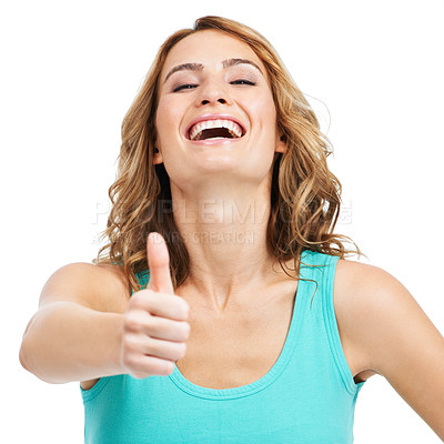 Buy stock photo An excited young beauty giving you a thumbsup while isolated on a white background