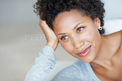 Buy stock photo Closeup of gorgeous young woman daydreaming while resting on couch