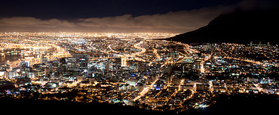 Buy stock photo View of a city landscape at night