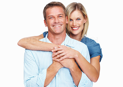 Buy stock photo Portrait of a middle aged couple standing against a white background