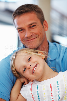Buy stock photo Portrait of beautiful little girl smiling with father, indoors
