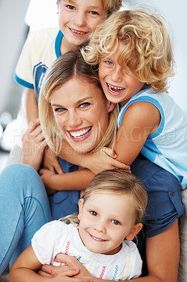 Buy stock photo Portrait of beautiful woman having fun time with three children