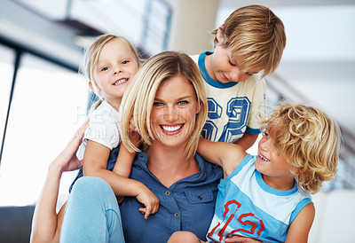 Buy stock photo Portrait of happy middle aged woman enjoying time with cute kids