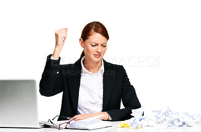 Buy stock photo A young executive crumpling her paperwork up in frustration