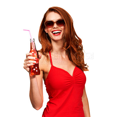 Buy stock photo Portrait of a  young woman holding a bottle of soda