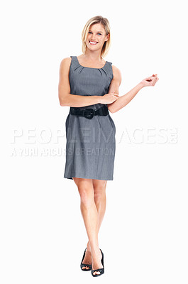 Buy stock photo Full length of pretty young business woman smiling on white background