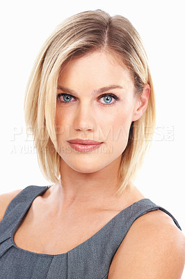 Buy stock photo Closeup of successful business woman with attitude on white background