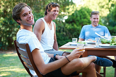 Buy stock photo Smiling young people at lunch with a group of friends - portrait