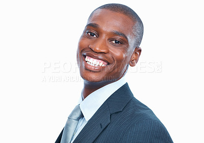 Buy stock photo Closeup of handsome African American business man smiling on white background