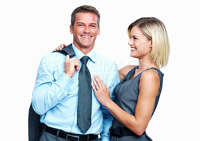 Buy stock photo Portrait of smiling business couple on white background
