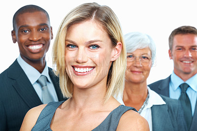 Buy stock photo Smiling business woman with happy team over white background