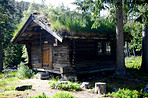A lonely log cabin for solitude and reflection