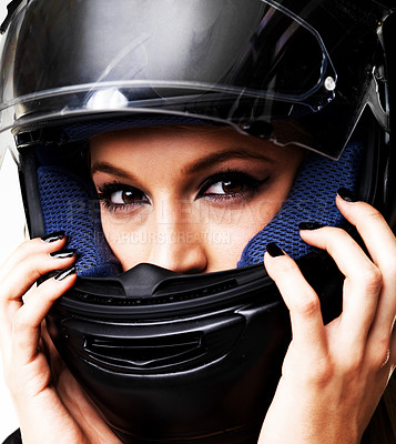 Buy stock photo Closeup of a stunning young woman in a motorbike helmet
