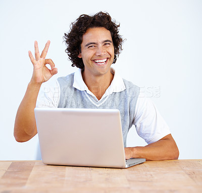 Buy stock photo A young executive telling everything is going to alright