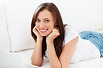 Relaxed woman with laptop at home