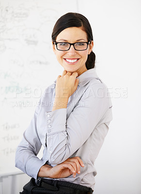 Buy stock photo Smiling young businesswoman looking positive - portrait