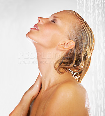 Buy stock photo Lovely young woman having a refreshing shower