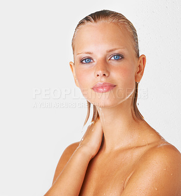 Buy stock photo Portait of a stunning young woman dripping wet after her shower - Copyspace
