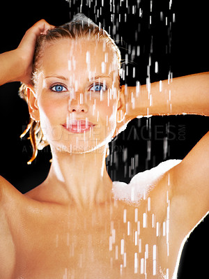 Buy stock photo Portrait of a pretty young woman covered with soap in her shower