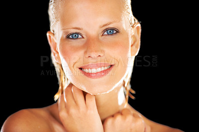 Buy stock photo Closeup portrait of a happy young woman isolated on black