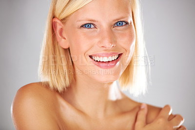 Buy stock photo Portrait of a stunning young woman with crystal blue eyes