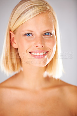 Buy stock photo Closeup portrait of a beautiful young woman with a smile to die for