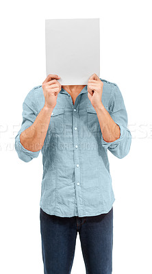 Buy stock photo A male holding up a blank placard in front of his face - Copy space - Conceptual