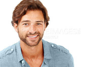 Buy stock photo A handsome man smiling against a white background