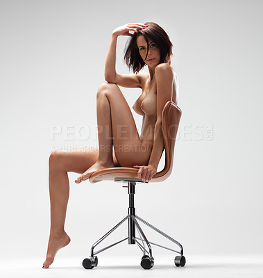 Buy stock photo Gorgeous nude young woman sitting on a chair - isolated