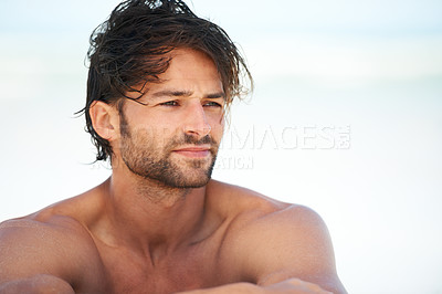 Buy stock photo An attractive young man, satisfied with life