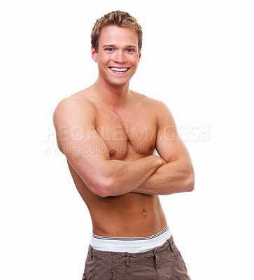 Buy stock photo Happy shirtless young guy standing against isolated white background