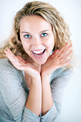Buy stock photo Portrait of a fun-loving young blonde