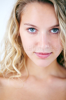 Buy stock photo Closeup portrait of a ravishing young beauty looking at you with intensity