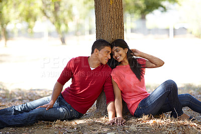 Buy stock photo Shot of an affectionate young couple sitting together under a tree in the park