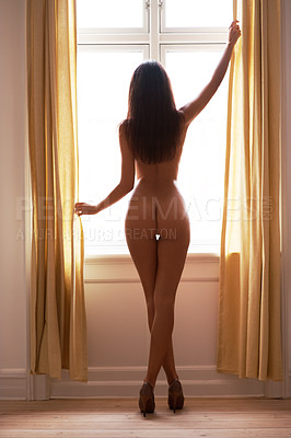 Buy stock photo Rearview of a nude woman standing in front of a window