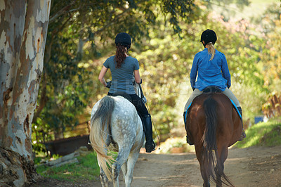 Buy stock photo Rear view of two women riding their horses together
