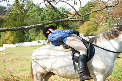 Buy stock photo A young woman ducking under a branch while riding her horse