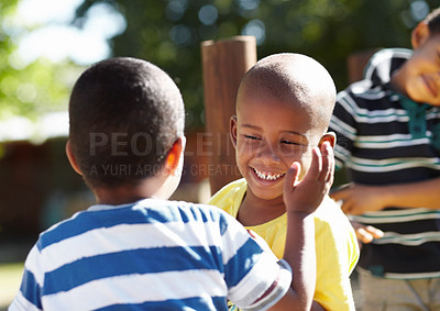 Buy stock photo Two african american boys enjoying each other's company outside