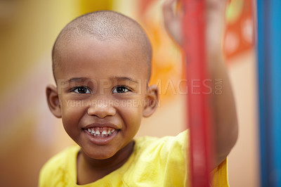Buy stock photo Portrait of a happy african american boy smiling
