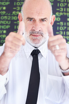"Buy stock photo Portrait of a positive businessman showing you ""thumbs up"""