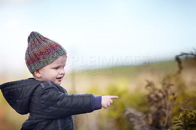 Buy stock photo A cute little boy pointing at something while outside