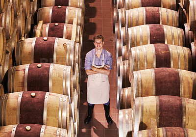 Buy stock photo Portrait of a young wine maker standing with his barrels of red wine