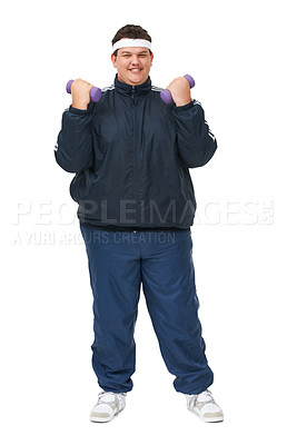 Buy stock photo A full length studio shot of a young obese man trying to get fit