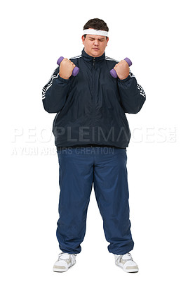 Buy stock photo A full length studio shot of a young obese man lifting weights and wearing a track suit
