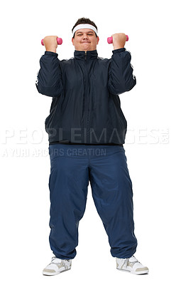 Buy stock photo A full length studio shot of a young but overweight man trying to burn some calories through weightlifting