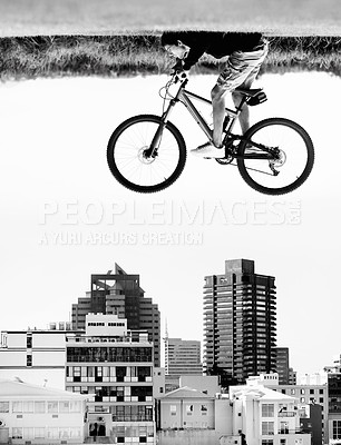 Buy stock photo A man on a bicycle hovers in the air over the rooftops of a city - perception