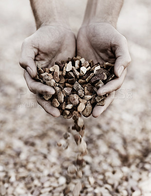 Buy stock photo Closeup of two hands holding gravel