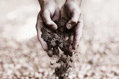 Buy stock photo Two hands holding dirt